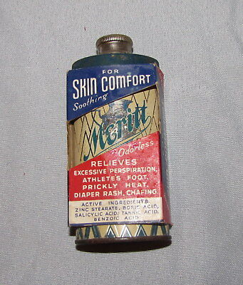 MERITT POWDER TIN Unused Art Deco Vintage Salesman Sample Original Sleeve Box