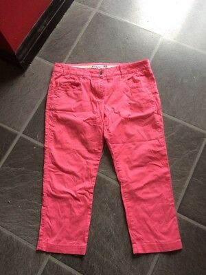 Ladies Fat Face Pink Cropped Trousers Size 10