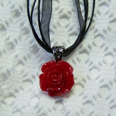 Deep Red Rose Necklace, Victorian Red Rose Necklace, Red Floral Gunmetal Jewelry