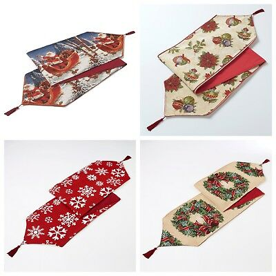 Traditional Thick Quality Lined Tapestry Xmas Christmas Festive Table Runner