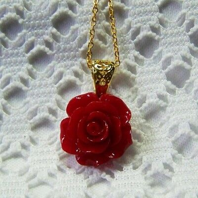 Deep Red Rose Gold Necklace, Victorian Red Rose Necklace, Red Floral Jewelry