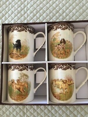 Spode Woodland set of 4 Mugs Hunting Dogs in nice presentation box new