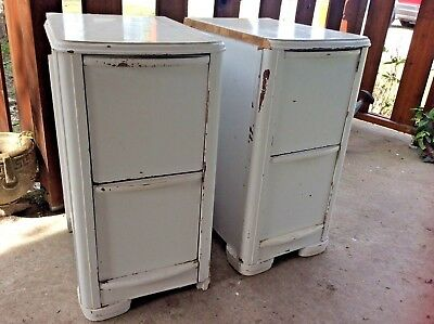 Pair vintage Art Deco painted Nightstands End tables mid century antique wood