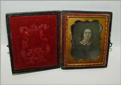 Daguerreotype Photo 9th Plate Female Fancy Collar Gold Earrings Coiffed Hair Bow