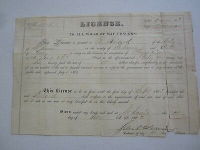 Old 1862 Physicians LICENSE Certificate Document - BRIARD - St. Louis Missouri