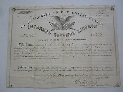 Old 1865 Physicians LICENSE Certificate Document - BRIARD - St. Louis Missouri