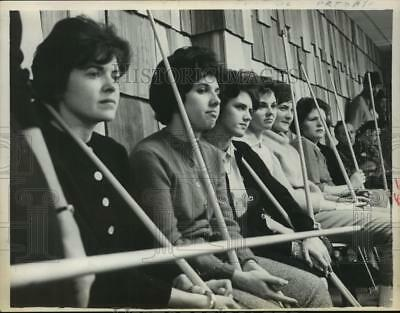 1963 Press Photo View of the telephone girls watching and learning game of pool
