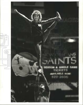 1987 Press Photo Donna Lisotta at Saints Cheerleading Tryouts at the Superdome