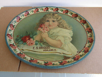 E.S. BRIGGS, ASHLAND, OHIO LOVELY EARLY 1900s SERVING TRAY