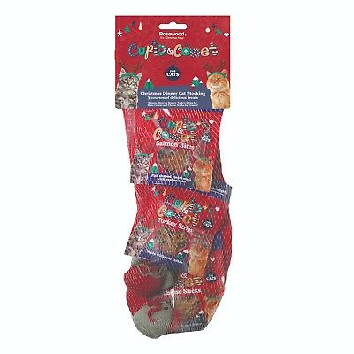 Rosewood Cupid and Comet Cat Christmas Dinner Stocking 3 Treats 2 Mouse Toys