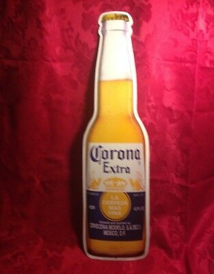 "Corona Light Beer Bottle Cerveza 22"" Metal Tin Embossed Advertising Wall Sign"