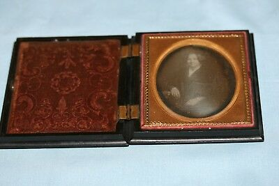 1/6 Plate Daguerreotype Young Woman w Fancy Dress Thermoplastic Case