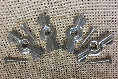 "4 bow tie 1 3/4"" turn latches buttons cupboard cabinet vintage steel old stock"