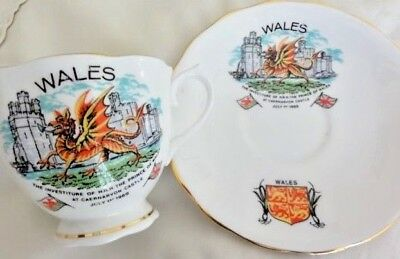 Investiture Prince Charles Cup & Saucer 1969 Welch Dragon.  LOVELY DESIGN!!