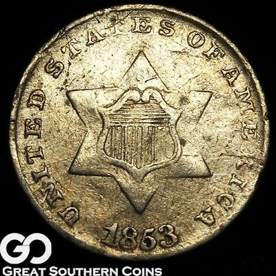 1853 Three Cent Silver Piece, Sought After Type
