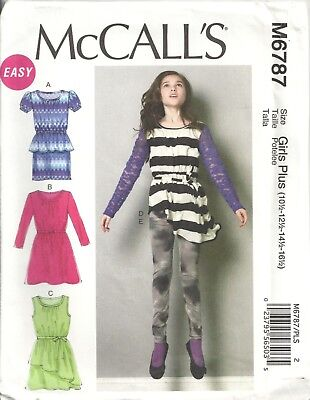Mccalls M6787 Girl's Plus 10½-16½ Dresses, Tunic, Belt, Leggings Sewing Pattern