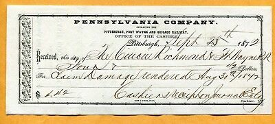 1872 Pittsburgh Fort Wayne & Chicago Railway Office Of Cashier Receipt 8 X 3 1/4