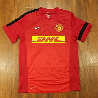 2b8f22a18 NIKE MENS LARGE DriFit Manchester United DHL Solid Red Jersey Soccer  Training -  12.77