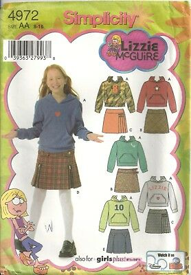 SIMPLICITY 4972 GIRLS SIZE 8-16 Lizzie McGuire SKIRTS & KNIT TOP SEWING PATTERN