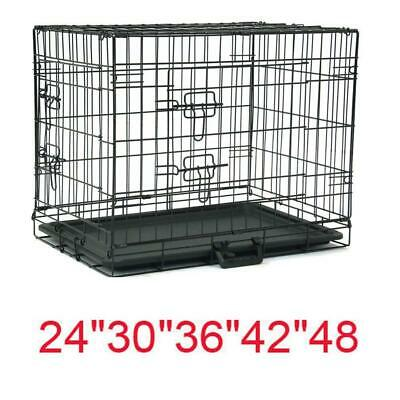 "20""—48"" Dog Crate Kennel Folding Metal Pet Cage 1-2 Door Indoor Outdoor Black"
