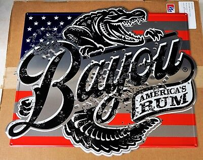 Bayou Rum Red White and Blue 'Gator Metal Tacker Sign