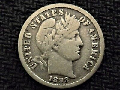 A 1893 O Barber Dime Nice Example