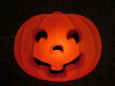 Light Up Pumpkin/Jack O'Lantern, Flat, Blow Mold, 10 Inches By 8 Inches, Works!