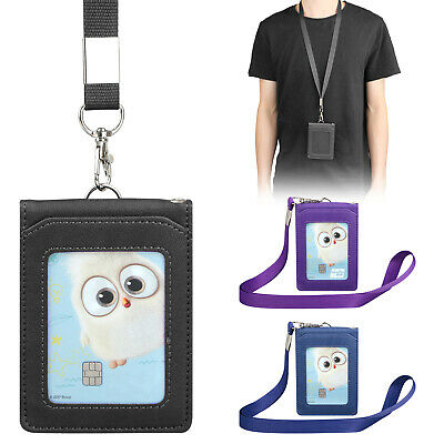 Leather Wallet Work Office ID Card Credit Card Badge Holder + Lanyard + 5 Slots