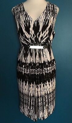 e881623f4b5 NWT MACYS NY Collection Black White Pink Summer Dress Womens Small ...