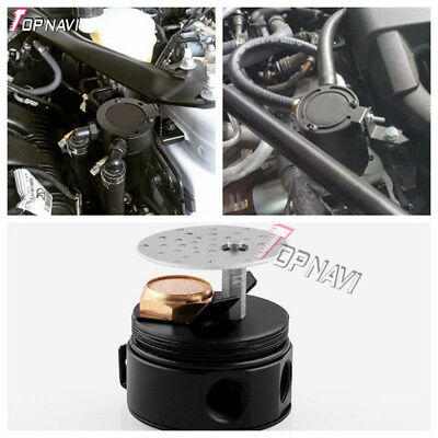 Universal Car Racing Baffled 2-Port Oil Catch Can Tank Air-Oil Separator Black