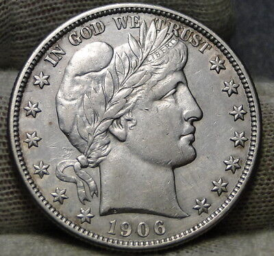 1906s Barber Half Dollar 50 Cents . Semi-Key Date, Nice Coin (7281)