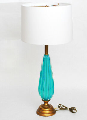 Vintage Murano Aqua Blue Mid Century Modern Glass Table Lamp Ribbed Seguso Italy