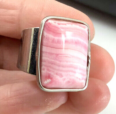 43CT 100% Natural Pink Rhodochrosite Ring With Adjustable Hole 22x17x4mm D624