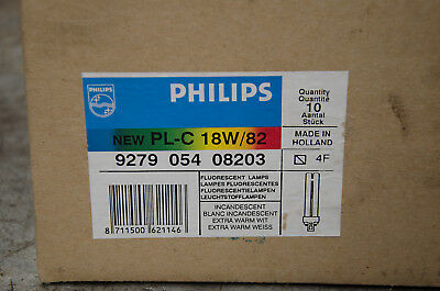 9 Brand New Philips PL-C 18W/82 Fluorescent Lamps