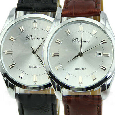 Classic Men's Leather Bnad Stainless Steel Army Date Quartz Analog Wrist Watch