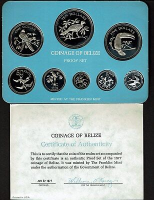 Belize 8-Coin Proof Set 1977 Nice In Case Tropical Birds Nice (No Sleeve)