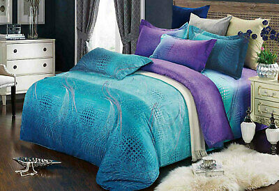 Aqua Purple Quilt Cover Set 3pc turquoise Queen/King Size doona Cover or Options