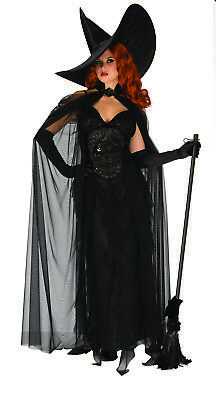 CL572 Womens Spooky Wicked Witch Gothic Halloween Horror Fancy Dress Up Costume