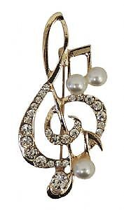 1950s style Gold tone Rhinestone and Mock Pearl Clef Note Brooch