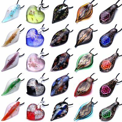 Fashion Colorful Murano Lampwork Glass Heart Pendant Necklace Women Jewelry Gift