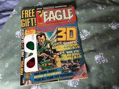 """EAGLE Comic - Date 26/02/1983 - UK Comic with """"FREE 3D GLASSES"""" FREE GIFT"""