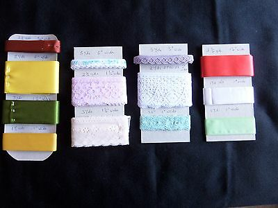Job Lot of Lace and Ribbon. Nice colours and pretty Ribbon. Ideal Crafts or Doll