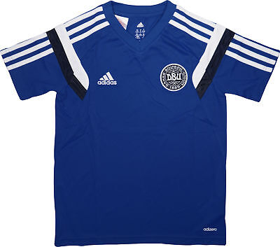 adidas DBU Denmark Supporters Short Sleeve Junior Training Top - Blue