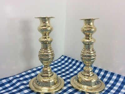 A Pair Of Beautiful Heavy Brass Candlesticks