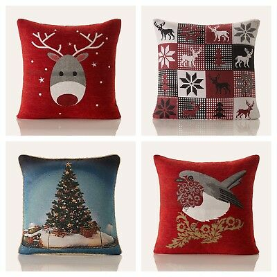Christmas Xmas Festive Rich Woven Quality Sofa Chair Scatter Cushion / Cover