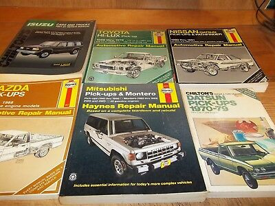 Japanese Trucks  Repair - Tuneup - Shop Manuals lot of 6, Toyota-Datsun-Mazda