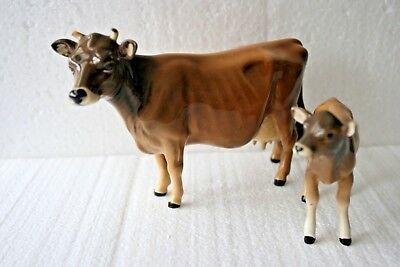 Gloss Jersey Cow Newton Tinkle Bell (1345) & Calf (1249D) by Beswick