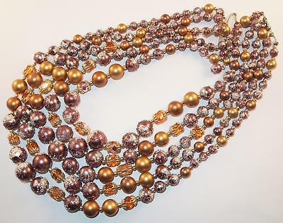 Vintage Purple & Gold Aurora Borealis Sugar Glass Beads 5 Strand Necklace Japan