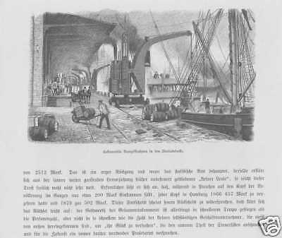 Hamburg St. Pauli Hamburger Berg Docks HOLZSTICHE 1880 Hafen Ladedocks
