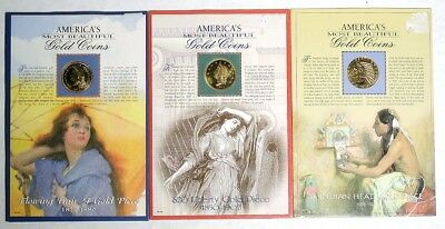ESZ8846. Lot of 3: America's Most Beautiful GOLD COINS Indian Head, Liberty ~